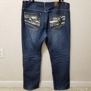 Emcee Mens Jeans Dark Blue Camouflaged 38x32